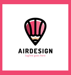 hot air balloon locator with pencil simple vector image