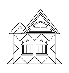 House with attic icon outline style vector