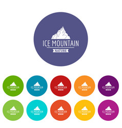 ice mountain icons set color vector image