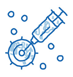 Injection exactly to appointed place doodle icon vector