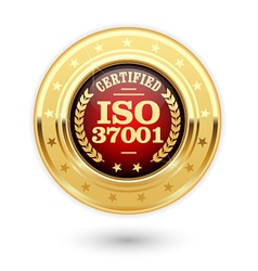 ISO 37001 certified medal - Anti bribery vector image