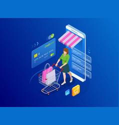 Isometric smart smartphone online shopping concept vector