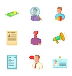 Job icons set cartoon style vector image