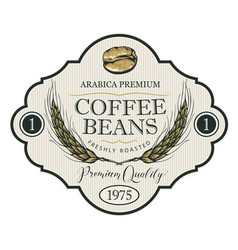 label for coffee beans with wheat ears vector image