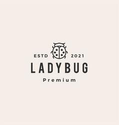 Lady bug outline hipster vintage logo icon vector