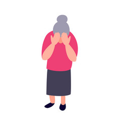 Lonely sad old woman mature woman crying covering vector