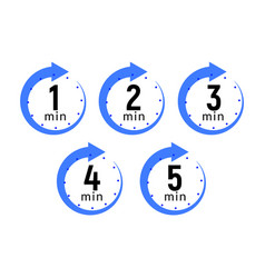 minutes clock quick number icon 1-5 min time vector image