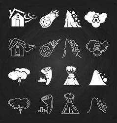 Natural disaster icons on chalkboard vector