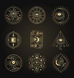 occult emblems meditation alchemy mystical vector image