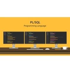 PL SQL programming language code vector image