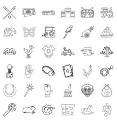 Playing icons set outline style vector