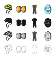 Protective helmet of a bicyclist knee pads vector