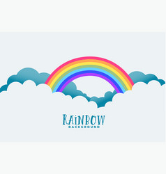 rainbow above clouds background design vector image
