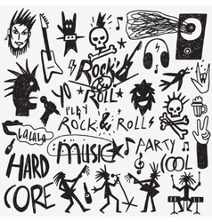 Rock music doodles vector