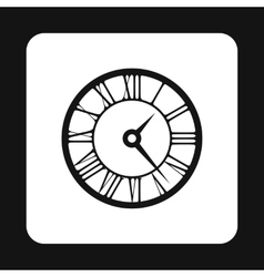 Round clock with roman numerals icon simple style vector