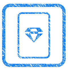 Ruby gambling card framed grunge icon vector