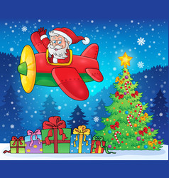 santa claus in plane theme image 9 vector image