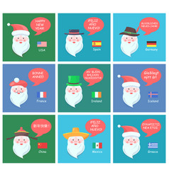 Santa clauses on festive posters with greetings vector