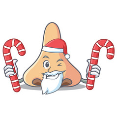 Santa with candy nose mascot cartoon style vector