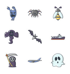 Scare icons set cartoon style vector