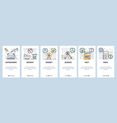 science website and mobile app onboarding screens vector image