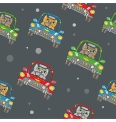 Seamless Pattern with Cat Driving a Car vector