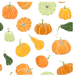 Seamless pattern with hand drawn pumpkin vector