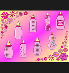 set of baby bottles for girl in vector image
