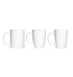 set of realistic white cups isolated on white vector image