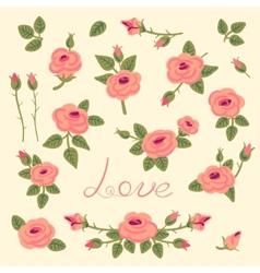 Set of vintage roses for design vector image