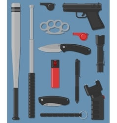Set self defense and street weapon vector