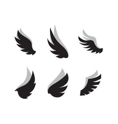 set wing icon design template vector image