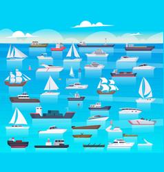 ship in sea sailing boats and passenger cruise vector image