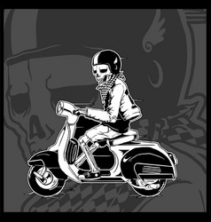 Skeleton driving a vintage scooter vector