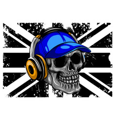 skull and flag great britain vector image