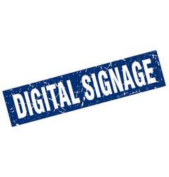 Square grunge blue digital signage stamp vector
