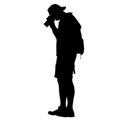 standing photographer silhouette vector image