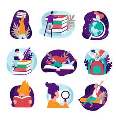 students reading books and learning new vector image