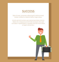 Success poster with text on vector