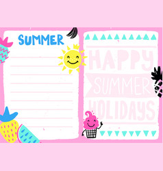 Summer daily planner vector