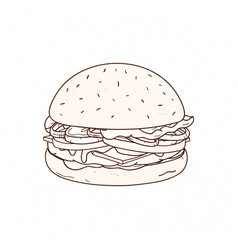 Tasty hamburger hand drawn with contour lines on vector