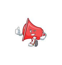 Thumbs up red loudspeaker character for speak loud vector
