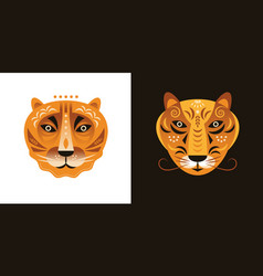tigers faces on white and black backgrounds vector image