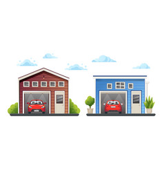 Two open different garages with red cars inside vector