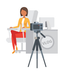 Video blogger making stream vlogger vector