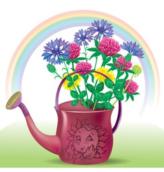 Watering with bouquet of wildflowers vector image