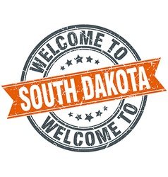 Welcome to South Dakota orange round ribbon stamp vector