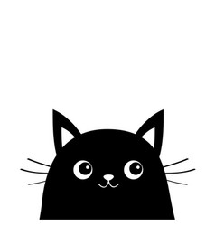 White cat face silhouette kawaii animal cute vector
