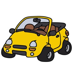Yellow cabriolet vector