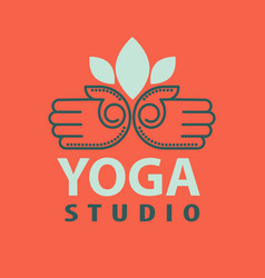 Yoga studio logotype with open palms isolated vector